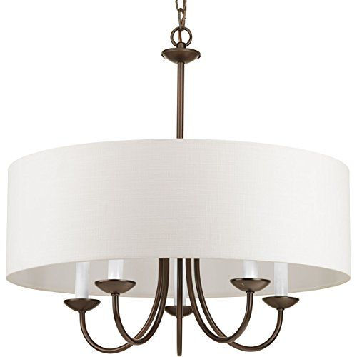 Chandeliers Shade Drum (Progress Lighting P4217-20 5-Lt. Chain Hung Fixture Off-white linen fabric shade)