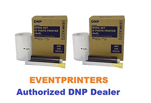 TWO BOXES of DNP IDW500 ID Printer Media set, Paper & Ribbon kit. Each box makes 350 Prints size 4x6'' (Total of 700 prints for this offer). EVENTPRINTERS IS THE AUTHORIZED DNP DEALER!