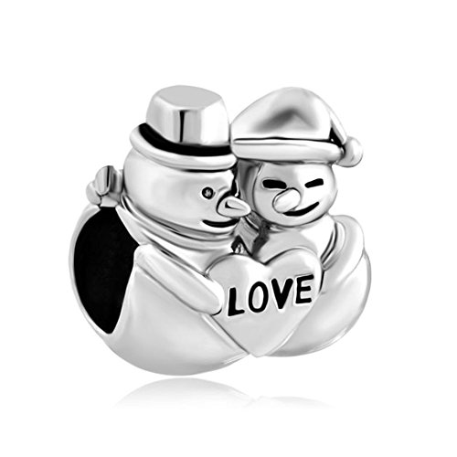 Couple Snowman Charm w/Love Heart