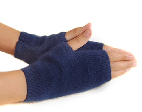 Lady In The Navy Gloves (Onmygogo Fuzzy Mink Cashmere Half Finger Winter Gloves for Women, Warm and Versatile Gloves (Navy))