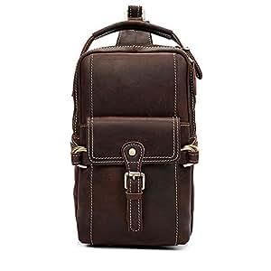 Lcxliga Men Chest Bag,Leather Sling Shoulder Backpack,Anti Theft Water Resistant Crossbody Bag