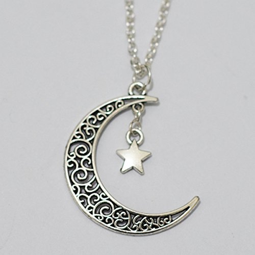 Charm Moon and Star Necklace, Crescent Moon Star Necklace,star Moon Necklace. Jewelry Necklace