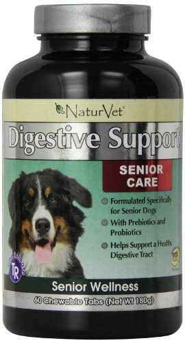 NaturVet 60 Count Senior Digestive Enzymes Support Tablets for Pets