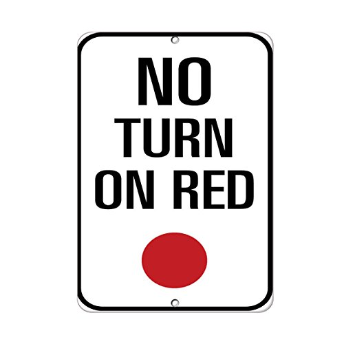 (No Turn On Red Traffic Sign Vinyl Sticker Decal)