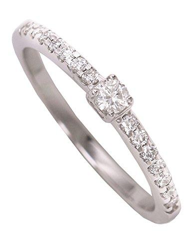 MyGold Bague de Fiançailles Femme Or blanc 750Memory 15diamants (0.20ct) gawra mod de 06736