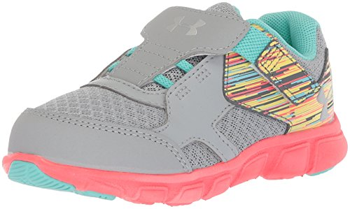 Under Armour Girls' Thrill Adjustable Closure, Overcast Gray/Brilliance/Metallic Silver, 8K M US Toddler