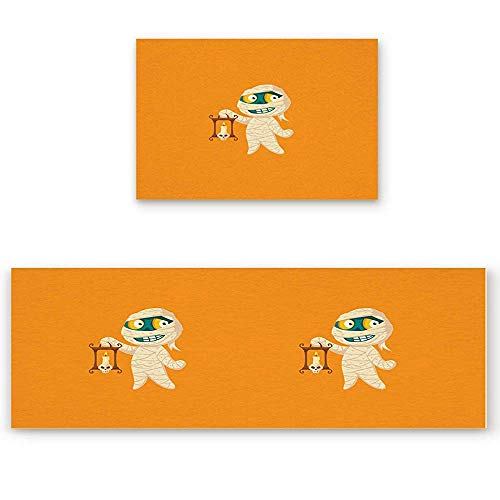 YGUII 2 Piece Kitchen Mat Halloween Cartoon Cute Little Mummy Non-Slip Rubber Backing Washable Kitchen Rugs Doormat Runner Set, 16X23.6in (40x60cm) and 16X47in (40x120cm) ()