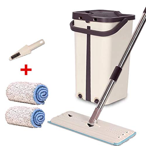 NUO ONETOWN Free Hand Washing Lazy Mop Bucket Magic Cleaner Self-Wring Squeeze Double Sided Household Cleaning Automatic Dehydration Total 2 Cloth by NUO ONETOWN (Image #1)