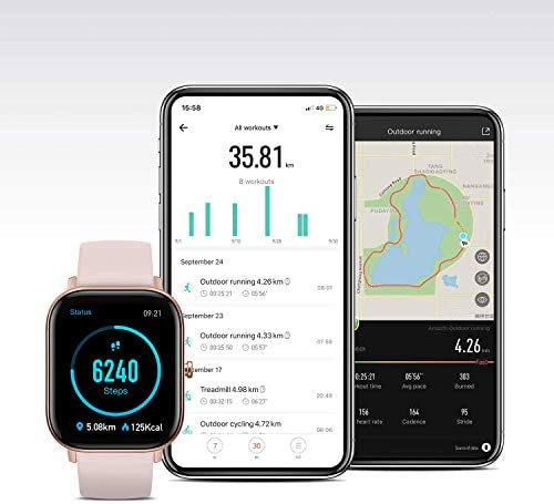 Amazfit GTS Fitness Smartwatch with Heart Rate Monitor, 14-Day Battery Life, Music Control, 1.65″ Display, Sleep and Swim Tracking, GPS, Water Resistant, Smart Notifications, Rose Pink 41Zofosk 2BlL
