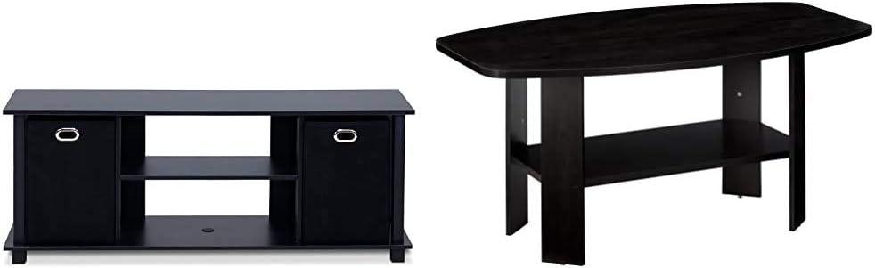 Furinno Econ Entertainment Center, Black/Black & Simple Design Coffee Table, Espresso