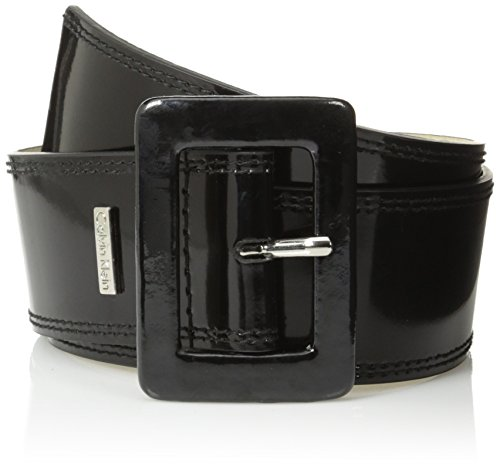 [Calvin Klein Women's Patent Flat Contour Belt with Double Stitched Edge, Black/Polished Nickel, Large] (Patent Leather Covered Buckle Belt)