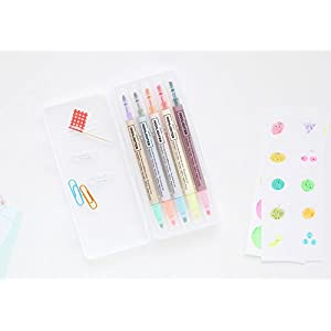 LIVEWORK 10 Colors Twin Pen Set - Dual Colors 5 Pen Set in Case (10 Colors Highlighter Set)