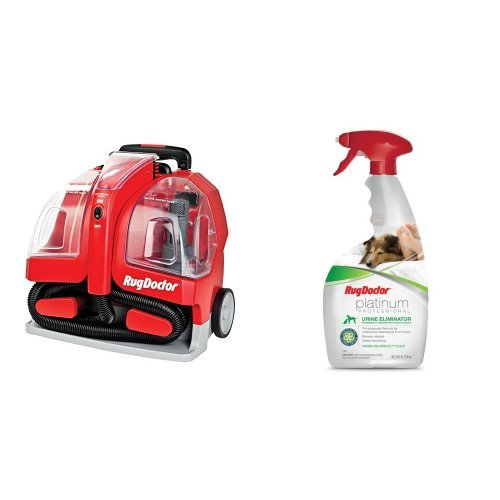Rug Doctor Portable Spot Cleaner Machine, Red - Corded and Rug Doctor Platinum Urine Eliminator Spray 24 oz Bundle