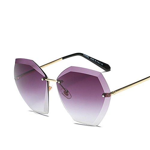 Doble Té De De JUNHONGZHANG Marco De Océano gradiente Cantos Gafas Gafas Gafas Marco Fresado Color Película De Degradado Moda dorado púrpura Sol Dorado rPqTxwU0P