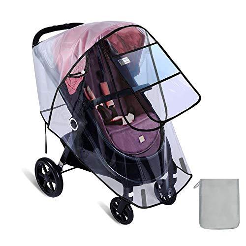 ベビーカー用レインカバー フロントオープン 通気性のメッシュ窓ベルクロ固定 スタンダード 汎用型 - L