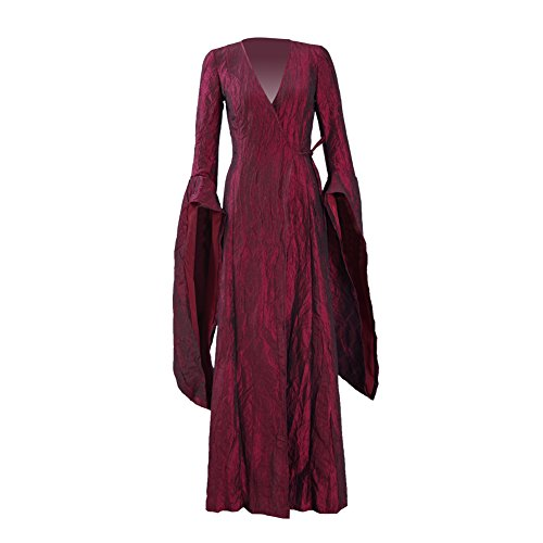Melisandre Costume Halloween Cosplay Party Long Dress Full Set for Women (Medium, Dress)