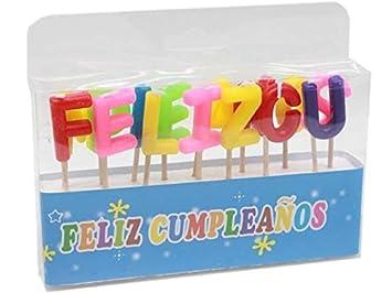 Velas para tarta o pastel de cumpleaños con las letras feliz ...