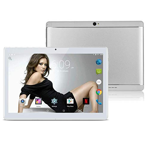 10.1″ Inch Android Tablet PC,3G Unlocked Phablet 4GB RAM 64GB Storage with Dual sim Card Slots and Cameras,Tablet PC with WiFi,Bluetooth,GPS(Metallic Silver) (Metallic Silver)