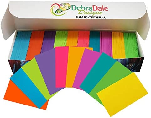 """DEBRA DALE DESIGNS - Made Right in the U.S.A. - Five Star Rated - 1,000 Blank Unpunched Flash Cards - 2"""" x 3.5"""" - 10 Bright Colors - Standard 65# Cover Card Stock - Awesome for all kinds of things!"""