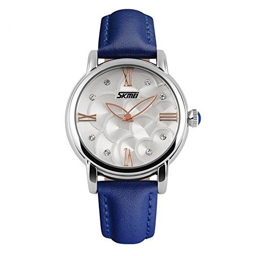 Women's Watch 30 Meters Waterproof Wrist Watch Lady Watch Girl Watch Flower Dial (Camellia,Blue)