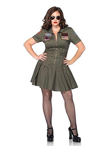 Leg Avenue Women's Plus-Size Licensed Top Gun Flight Dress, Green, 1X/2X