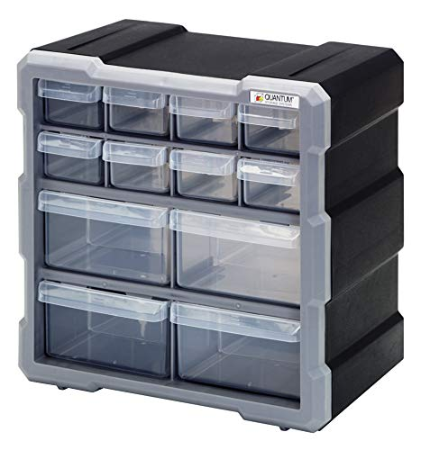 Quantum Storage Systems PDC-12BK Clear Plastic Drawer Cabinet, 12 Drawers