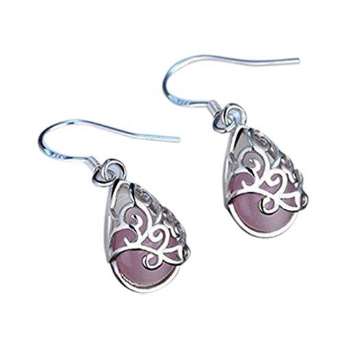 Earrings,kaifongfu Wedding Jewelry Cat's Eye Style Fashion Love Wishing Pool Wedding Earrings for Valentine's Day (Hoop Necklace Necklace Hoops)