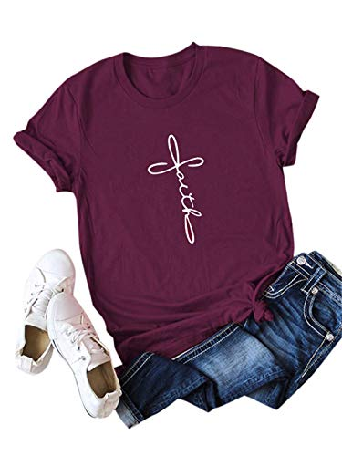 Festnight Womens Faith Letter Print T Shirts Casual Short Sleeve Graphic Tees Summer Cotton Tops Burgundy