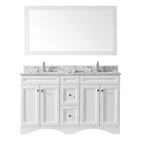 Virtu USA ED-25060-WMSQ-WH-002 Talisa Double Bathroom Vanity with Marble Top/Square Sink with Polished Chrome Faucet/Mirror, 60