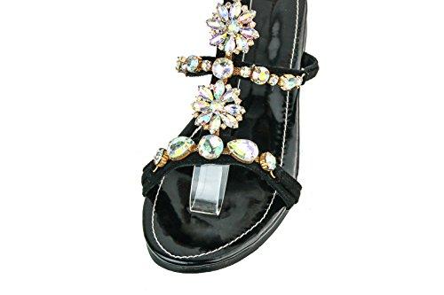 Chaussures Femmes Sandales la Black Chaîne main BFCM en strass Deco Flats à Kolnoo UqpPHxPd