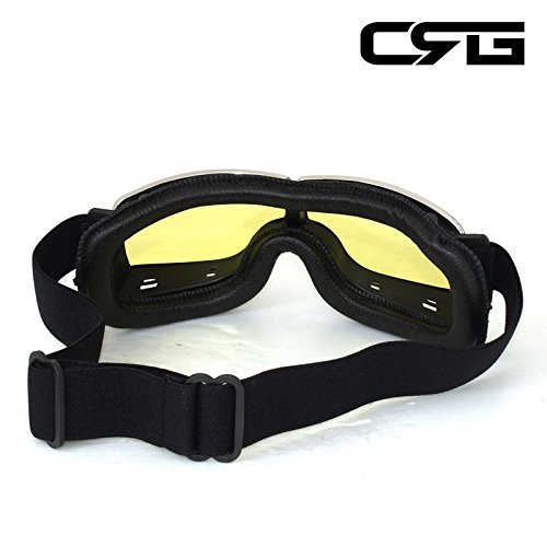 CRG Sports Vintage Aviator Pilot Style Motorcycle Cruiser Scooter Goggle T13 T13BCB - Parent (Yellow Lens Black Padding) by CRG Sports (Image #5)