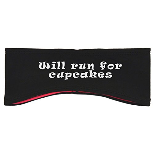 Gone For a Run Running Reversible Performance Headband Will Run For Cupcakes - Black Pink