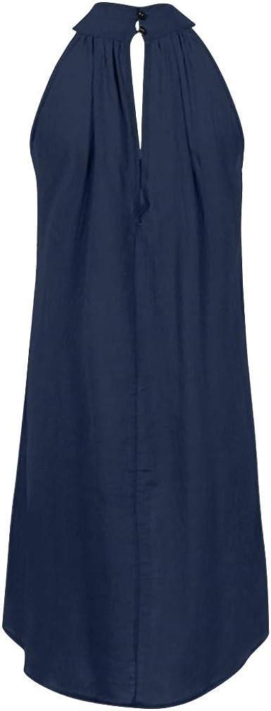 Tosonse Vestidos De Fiesta para Mujer Tallas Grandes Verano Playa Sin Mangas Color Sólido Vestido De Camiseta