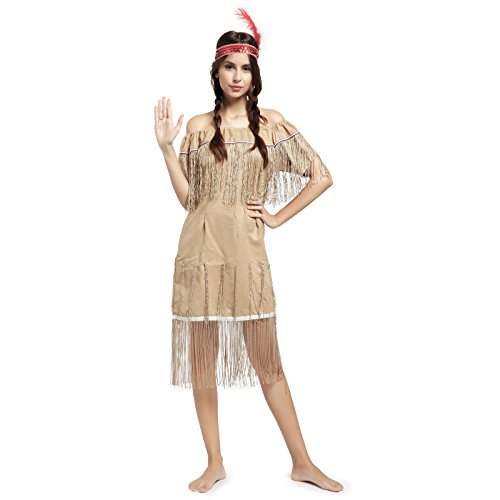 Women's Pocahontas Native American Indian Princess Wild West Fancy Dress Costume ()