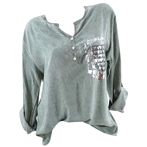 Snowlily Top,Women's Fashion Solid Color Round Neck Printed Pocket Long-Sleeved Shirt Green ()