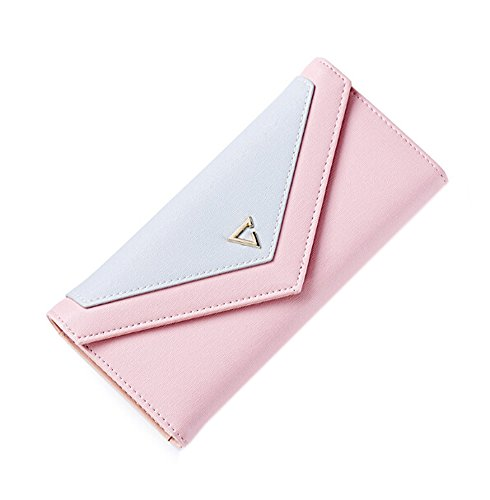 GGTFA Frauen PU Leder Envelope-Stil Nähte Farbe Dreifachem Wallet Geld Geldbörse card Case Halter Organizer Rosa 7BFvlOsR