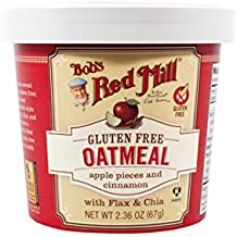 Bob's Red Mill Gluten Free Oatmeal Cup, Apple pieces and Cinnamon with Flax and Chia, 2.36 oz