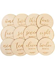 TOYANDONA 12pcs Wooden Baby Monthly Milestone Cards Wood Disc Circles Cutouts Baby Shower Photo Props