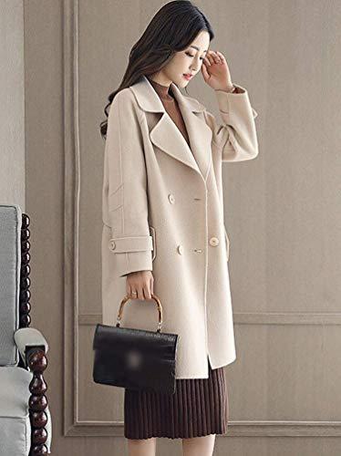 Classiche Breasted Beige Giaccone Stile Giacca Lunga Vento Modern Bavero Donne Manica Laterali Tasche Double Outerwear Invernali Elegante Trench Donna YOwRx