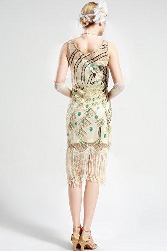 Babeyond Années 1920 Robe Garçonne Grande 20s Robe Fantaisie Années 1920 Robe De Gatsby De Pecock Embelli Robe Bordée De Sequins Pour Beige Parti Sur Le Thème