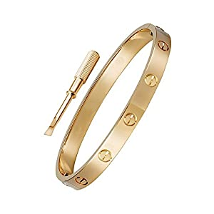OMFEE Stainless Steel Designer Inspired Screw Head Oval Bangle Bracelet Rose gold 7mm Wide