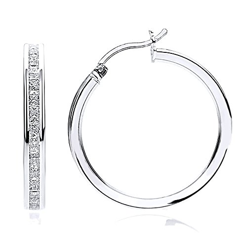 14K White Gold 2mm Intriguing Princess CZ Stone Channel Set Eternity Round Hoop Earrings, Size 12mm~40mm, 17
