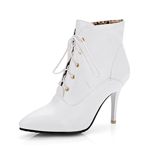 Women's Elegant Pointed Toe Dress Stiletto High Heels Lace Up Booties Shoes