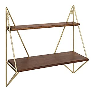 Kate and Laurel - Melita Decorative Mid-Century Modern Two-Tier Floating Wall Shelf with Gold Frame and Solid Wood, Walnut Finish