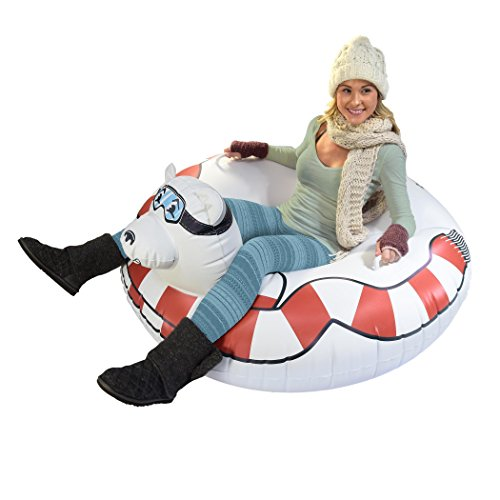 - GoFloats Winter Snow Tube - Inflatable Toboggan Sled for Kids and Adults (Choose from Unicorn, Ice Dragon, Polar Bear, Penguin, Flamingo)
