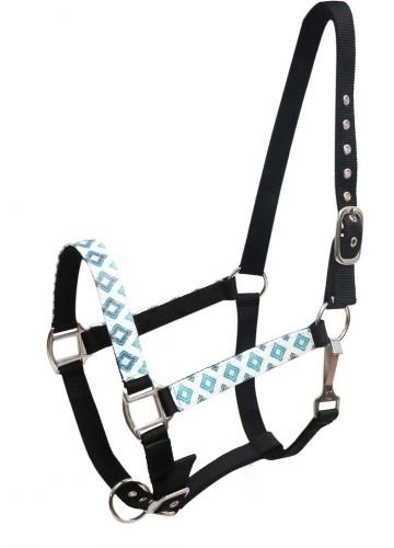 Amazon Com Showman Black Nylon Horse Halter W Brown Teal Navajo