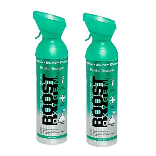 Boost Oxygen 10 L Natural Portable Canned Oxygen Bottle, Menthol (2 Pack)