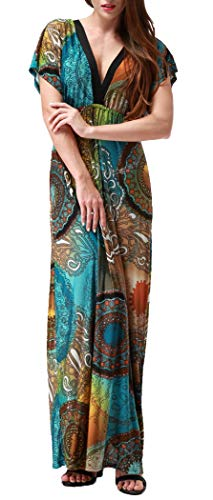 Maxi Style Wheel Long Wantdo Deep Backless Dress Plus Size Dresses Casual V Boho Women's Neck 0wTwInaq