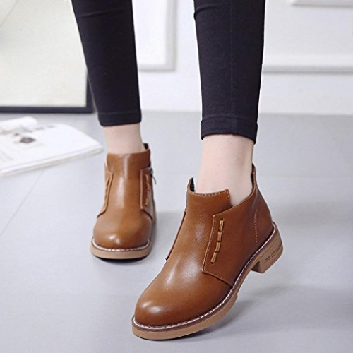 Women British Martin Boots, Single Short Artificial leather Flats Casual Shoes Boots Lace-Up High-heeled Women Boots Shoes by MML Brown