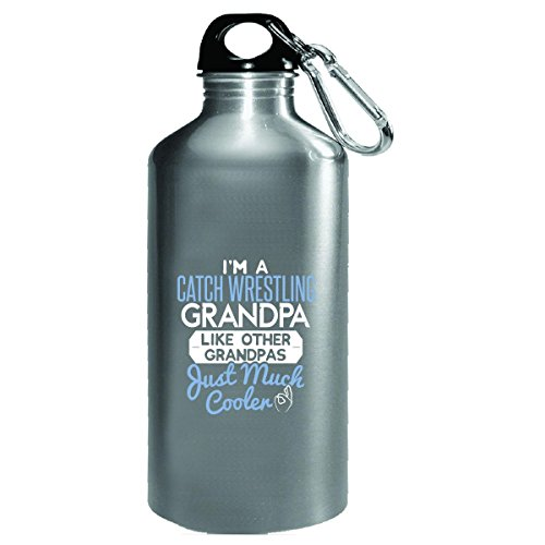 Gift Catch Wrestling Grandpa Much Cooler Fathers Day Present - Water Bottle by My Family Tee